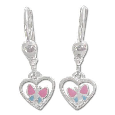 Schmetterlings Ohrringe für Kinder Herz 925 Silber Geschenk Mädchen