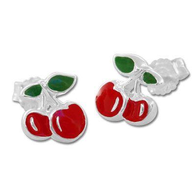 Ohrstecker mit Kirschen 925 Silber Kinder Ohrringe