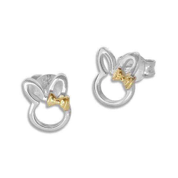 Ohrstecker Hasen mit Schleife bicolor 925 Silber Mädchen Ohrringe teilvergoldet