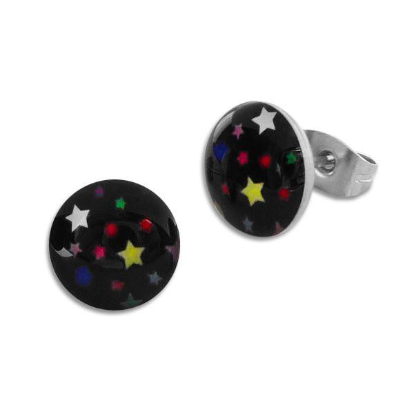 Runde Ohrstecker Ohrringe bunte Sterne auf schwarz 10 mm Edelstahl