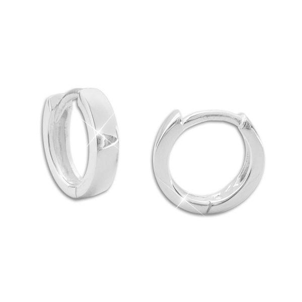 Klapp-Creolen glänzend klein Silber für Mädchen, Jungs, Damen und Herren