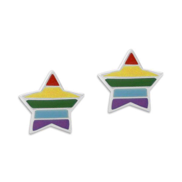 Ohrstecker bunte Sterne in gedeckten Farben 925 Silber Kinder Ohrringe