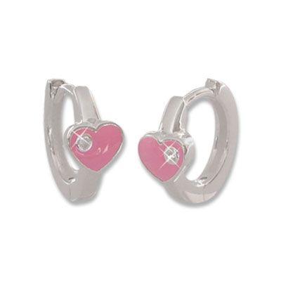 Creolen mit rosa Herzen und Zirkonia 925 Silber Mädchen Ohrringe