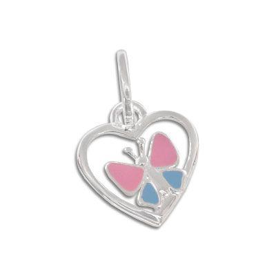 Schmetterlings Anhänger für Kinder mit Herz 925 Silber