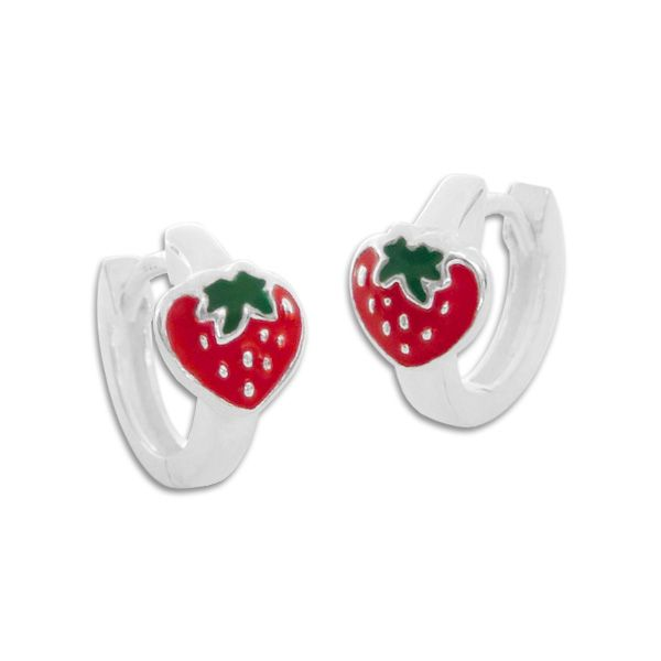 Klapp-Creolen mit Erdbeeren 925 Silber Kindercreolen