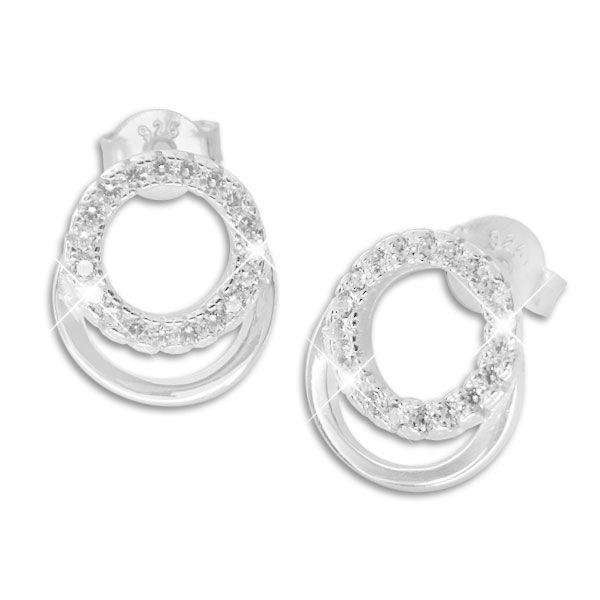 Ohrstecker mit 2 Ringen und Zirkonia Steinen 925 Silber Strass Ohrringe für Damen