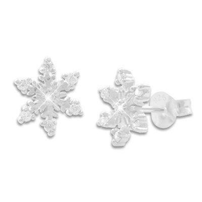Eiskristall Ohrstecker mit 7 Zirkonia Steinen weiß 925 Silber Eissterne für Damen und Mädchen