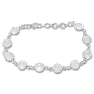 Regenbogen Mondstein Armband runde Steine 925 Silber Mondsteinarmband