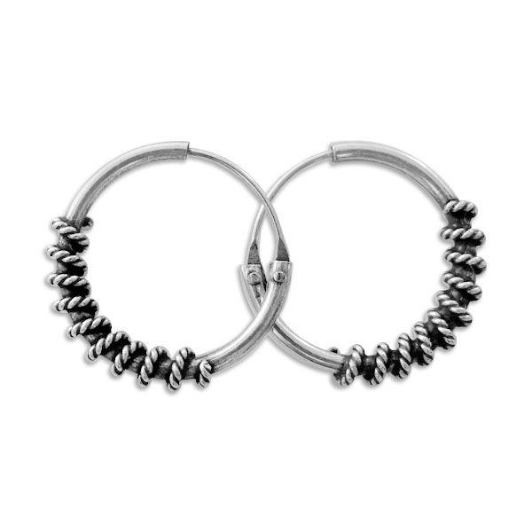 Bali Creolen gedrehtes Seil 925 Silber 14 mm Herren Ohrringe