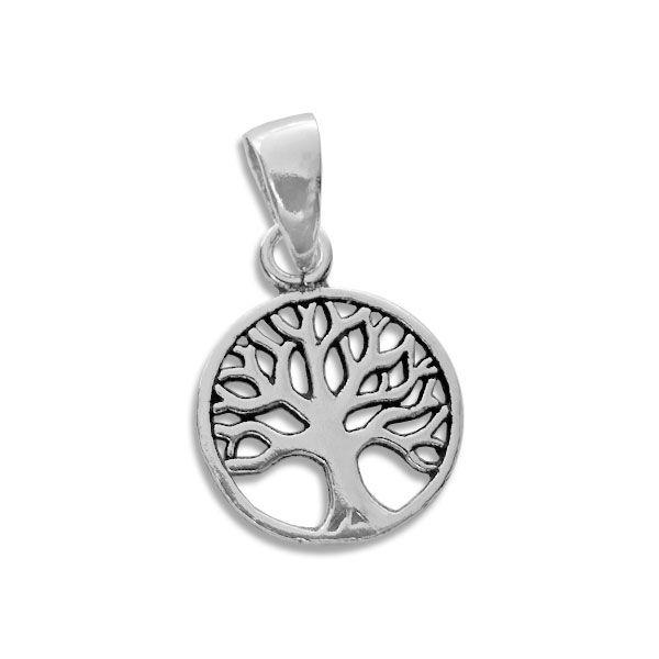 Anhänger mit Lebensbaum 925 Silber Baum geschwärzt