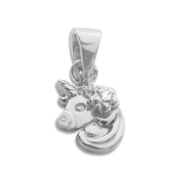 Einhorn Anhänger mit Blume und Zirkonia 925 Silber