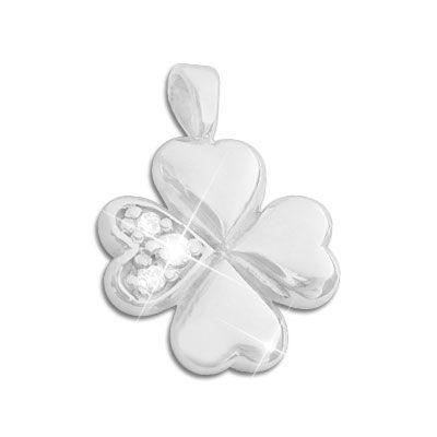 Silberschmuck Anhänger Kleeblatt mit Zirkonia 925 Silber