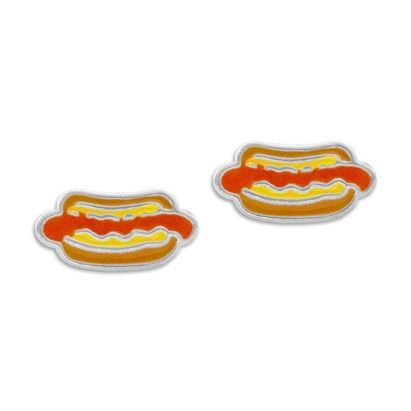 Hot Dog Ohrstecker Ohrringe 925 Silber Schmuck für Kinder und Erwachsene