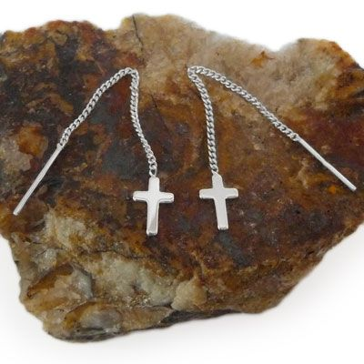 Ohrringe Durchzieher Kreuze 925 Silber