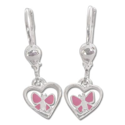 Schmetterlings Ohrringe rosa mit Herz 925 Silber