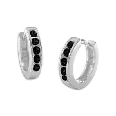 Creolen mit schwarzen Steinen 14,5 mm 925 Silber Klapp-Creolen für Damen
