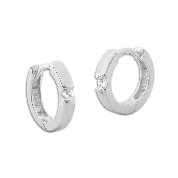 Glänzende Creolen mit weißen Zirkonia Steinen 925 Silber