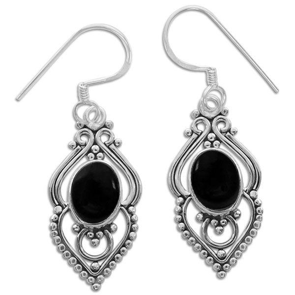 Onyx Ohrringe filigran Boho Design 925 Silber schwarze Edelsteine