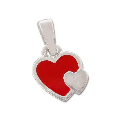 Silber Anhänger für Kinder mit rotem Herz 925 Silber