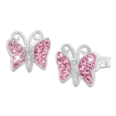 Ohrstecker Schmetterling mit rosa Strass Steinen 925 Silber Ohrringe für Kinder