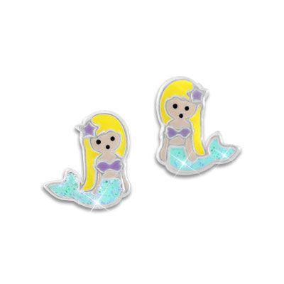 Meerjungfrauen Ohrringe mit blauer Glitzer Flosse 925 Silber