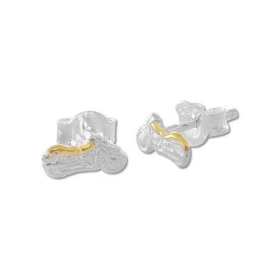 Motorrad Ohrringe bicolor 925 Silber Silberschmuck für Herren