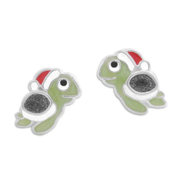 Ohrstecker Ohrringe Schildkröte mit Weihnachtsmütze 925 Silber Geschenk Kinder