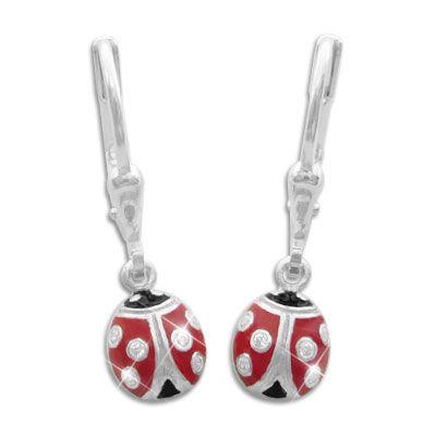 Marienkäfer Ohrringe für Kinder mit Strass 925 Silber Kinderschmuck