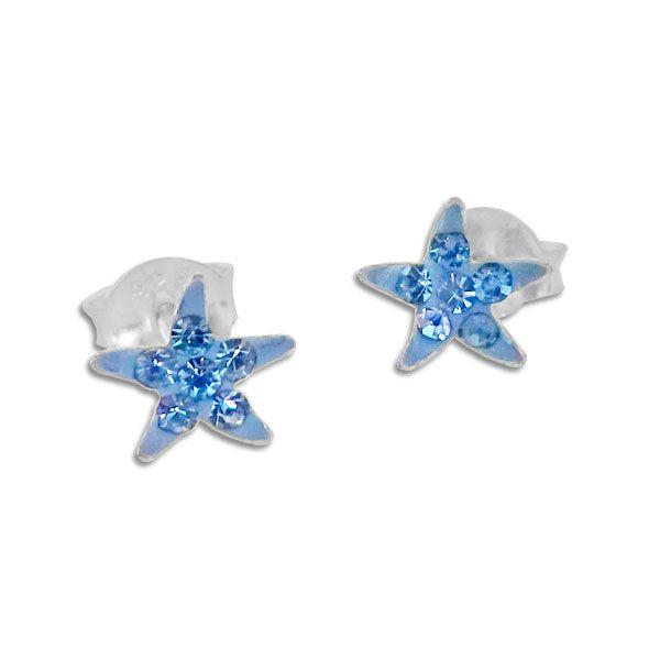 Seestern Ohrstecker blau mit Strass 925 Silber Ohrringe mit Kristallen