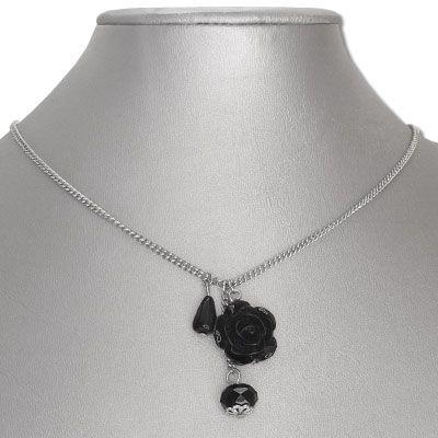 Gothic-Kette Rose und Perlen