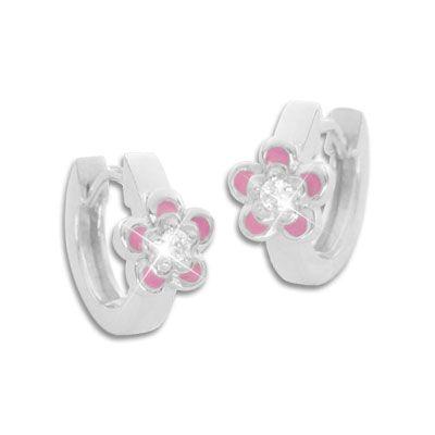 Creolen rosa Blümchen mit weißen Zirkonia Strass Steinen 925 Silber