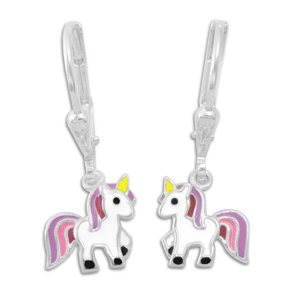 Kinderohrringe mit Einhörnern Klapp-Brisur Ohrhänger 925 Silber
