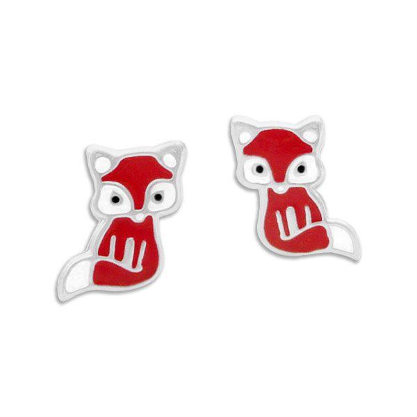 Kinder Ohrstecker Fuchs rot lackiert 925 Silber Ohrringe Füchse