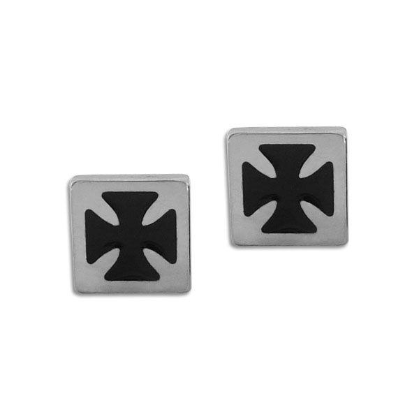 Herren Ohrstecker Edelstahl Eisernes Kreuz schwarz viereckig