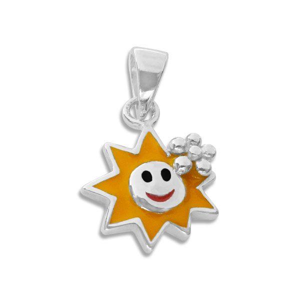 Anhänger mit lachender lackierter Sonne 925 Silber für Kinder