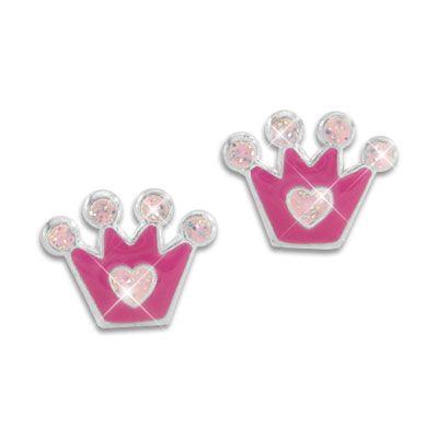 Ohrstecker mit Kronen pink und rosa mit Glitzer 925 Silber