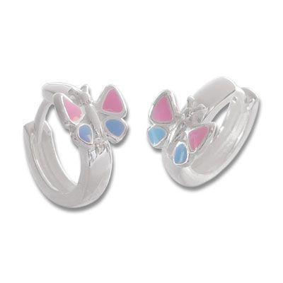 Kindercreolen mit Schmetterlingen rosa und blau 925 Silber