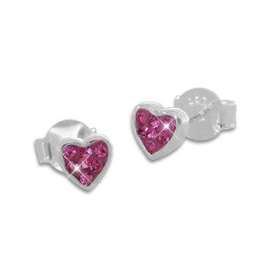 Kinderschmuck Ohrringe Herz Ohrstecker pink 925 Silber