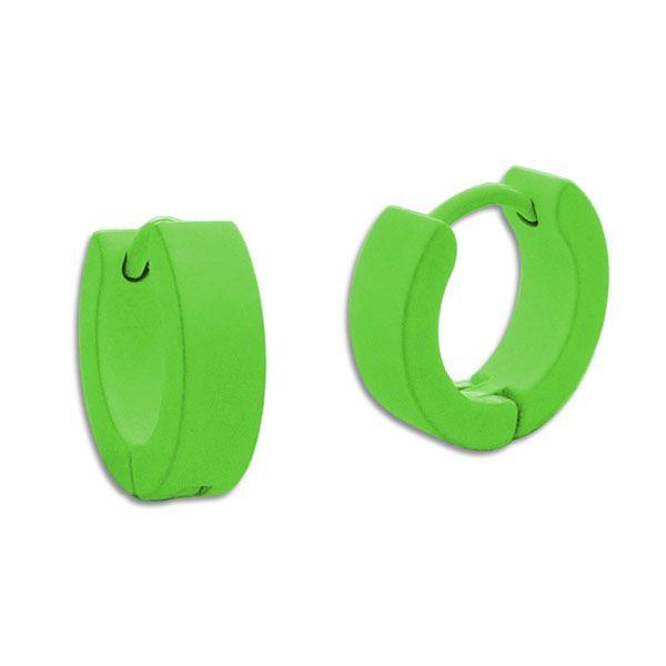 Creolen neon grün Edelstahl 13 x 4 mm Klapp-Creolen