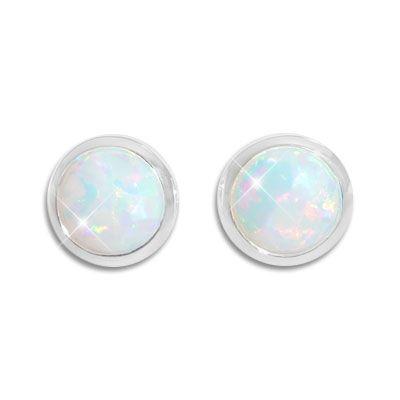 Opal Ohrstecker 8 mm rund 925 Silber Ohrringe mit Opalen