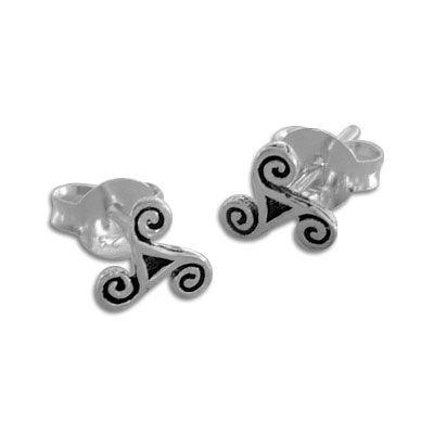 Triskel Ohrstecker 925 Silber Ohrringe mit keltischen Spiralen