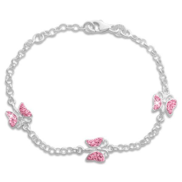 Mädchen Armband Schmetterlinge mit rosa Strass Steinen 925 Silber
