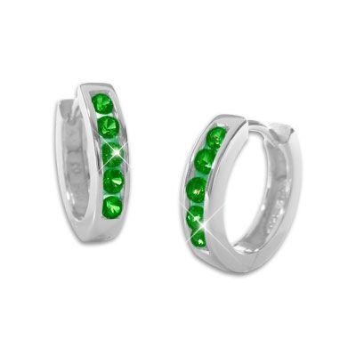 Klapp-Creolen Ohrringe mit smaragd grünen Steinen 14 mm 925 Silber