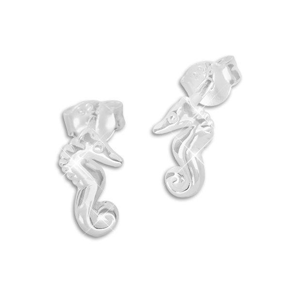 Ohrstecker Seepferdchen glänzend 925 Silber Seepferd Ohrringe