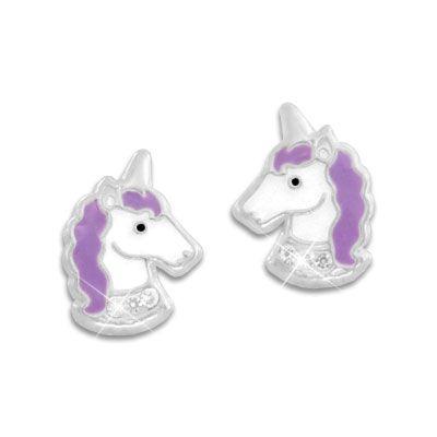 Ohrstecker Einhorn mit lila Mähne und Strass Steinen 925 Silber Kinder Ohrringe mit Einhörnern