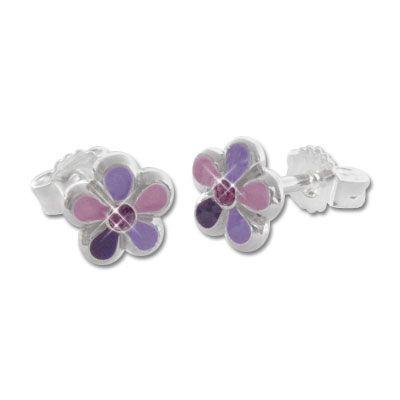Blumen Ohrstecker lila 925 Silber Kinder Schmuck Ohrringe