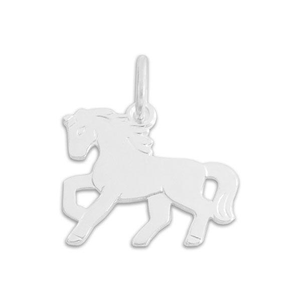 Kinder Anhänger glänzendes Pferd 925 Silber Kinderschmuck