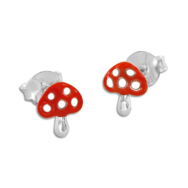 Fliegenpilz Ohrstecker Ohrringe rot weiß 925 Silber