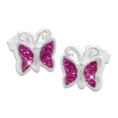 Strass Ohrstecker Schmetterling fuchsia pink 925 Silber