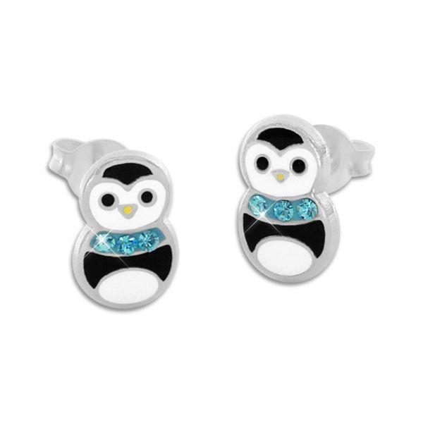 Pinguin Ohrstecker Ohrringe mit hellblauem Kristall Schal 925 Silber